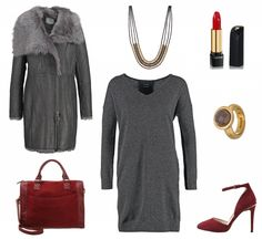 #Herbstoutfit Red and Grey ♥ #outfit #Damenoutfit #outfitdestages #dresslove