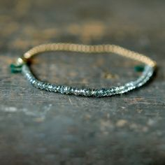 Green Sapphire Gemstone Bracelet Precious Gem Gold Chain Delicate Handmade Jewelry on Etsy, $98.00