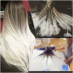 Okay this summer I might have to bleach my virgin hair! fluid hair painting - Google Search #hair