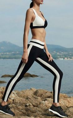 Two Tone Sports Bra and Tuxedo Legging by Vaara Pre-Fall 2018