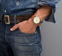 denim on denim is always a no no,... but the belt, jeans and watch are lovely