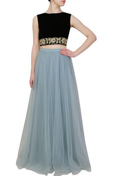 Crop Top and Light Blue Skirt Western Dresses, Western Outfits, Indian Dresses, Indian Outfits, Light Blue Skirts, Anarkali Lehenga, Indian Attire, Indian Wear, Indian Style