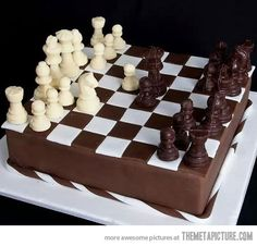 Chess board chocolate cake - For all your cake decorating supplies, please visit craftcompany.co.uk