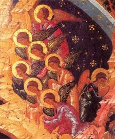 Nativity icon painting of angels