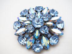 1950's Blue Rhinestone Aurora Borealis Brooch  by ERAtiqueJewels, $36.00