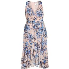 Plus Size Women's Eliza J Floral Chiffon High/low Dress (1,115 CNY) ❤ liked on Polyvore featuring dresses, plus size chiffon dresses, chiffon wrap dress, pink dress, floral hi-low dresses and floral dresses