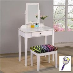 New White Finish Make Up Vanity Table with Mirror  Rainbow Zebra Print Themed Bench -- You can find out more details at the link of the image.