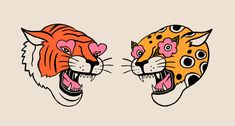 Tiger & Cheetah Art Print by Jaclyn Caris - X-Small Tiger Face Tattoo, Cheetah Tattoo, Tiger Art, Funky Art, Traditional Tattoo, Tattoo Drawings, Graphic Illustration, Art Inspo, Sketches