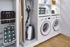 Meme Design, Küchen Design, Laundry Room Storage, Laundry Room Design, Shelving Systems, Open Shelving, Paint Colors For Living Room, Contemporary Interior Design, Laundry Rooms