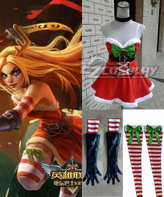 League of Legends LOL Katarina Du Couteau Christmas Girl Cosplay Costume. Would need to make it custom sized to fit.