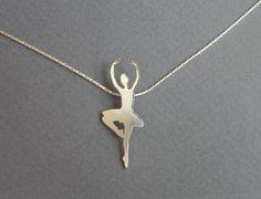 Silver Ballerina Necklace Pendant - Ballet Dancer, Ballerina Silhouette Pendant - Hand Cut on Etsy, $75.00