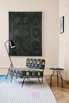 GUBI // Grasshopper Floor Lamp, Modern Line Side Table, GT Lounge Chair