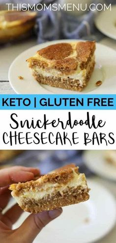 These snickerdoodle cheesecake bars are the definition of love at first bite! With creamy cheesecake sandwiched between two layers of sweet cinnamon cookies, No one will believe that they are keto-friendly and gluten free. #cinnamoncookies