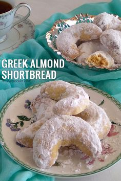 Kourabiedes or Greek cookies with powdered sugar are buttery, crumbly and not too sweet. These almond shortbread cookies are also known as wedding cookies, Chri Greek Cookies, Almond Meal Cookies, Almond Shortbread Cookies, Italian Almond Cookies, Crescent Cookie Recipe, Crescent Cookies, Easter Cookies, Christmas Cookies, Summer Cookies