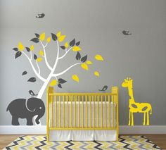 ♥♥♥♥ Included ♥♥♥♥ 1 Tree - tall by wide (Comes in separate pieces for easier installation) 1 Elephant - tall by wide 1 Giraffe - tall by wide 4 Birds Leaves Directions for app Giraffe Nursery, Safari Nursery, Nursery Themes, Nursery Decor, Nursery Ideas, Giraffe Colors, Elephant Colour, Elephant Theme, Baby Boy Rooms