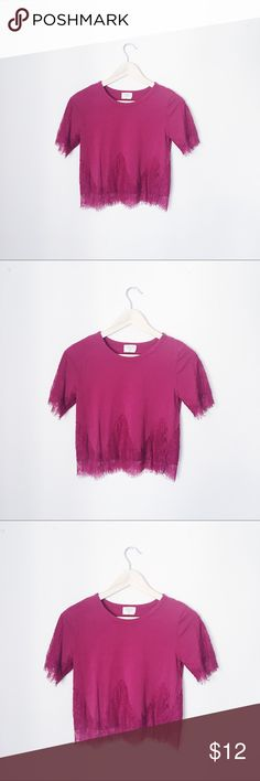 MAGENTA LACE DETAILED BOHO CROP TOP BUST: 16 inches. LENGTH: 20 inches. sienna sky Tops Crop Tops