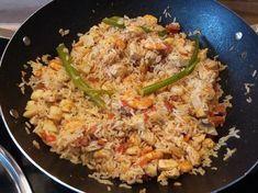 Recette de Wok riz poulet crevettes