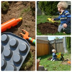 Create a natural play area for kids to explore: combine loose parts, plants, and add in some fun extras!