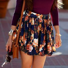Stylish High-Waisted Floral Print Ruffled Skirt