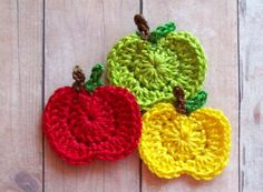 Crochet Apple Appliques--Red,Yellow,Green-(3pcs). $3.45, via Etsy..