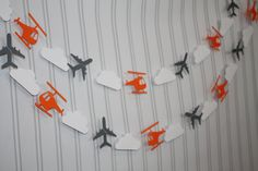Paper Garland~ Grey Airplanes, Orange Helicopters, Cloud Garland- Etsy, $12.99 Love color scheme for a boy!