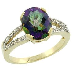 10K Yellow Gold Natural Diamond Halo Mystic Topaz Ring Oval 10x8mm, size 10by Gabriella Gold