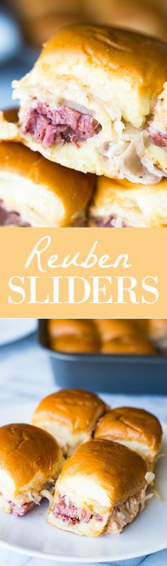 Easy to make slow cooker corned beef is layered on these sliders. Topped with Swiss cheese and a homemade Russian Dressing that makes these the BEST tasting Reuben Sliders around! Did you realize that St. Slow Cooker Corned Beef, Corned Beef Brisket, Slider Recipes, Wrap Recipes, Sandwich Recipes, Ideas Sándwich, Food Ideas, Party Ideas, Slider Sandwiches