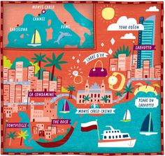 Monte Carlo illustrated Map for The Wall Street Journal by Nate Padavick