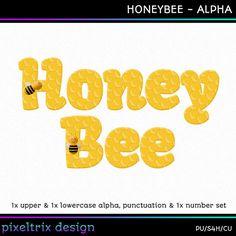 Digital Scrapbooking Alphabet HONEYBEE Instant by PixeltrixDesign