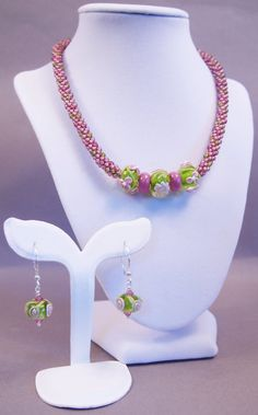 Pink and Green Lampwork Necklace and Earring by JasmineTeaDesigns, $225.00