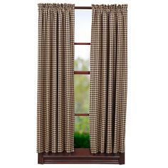"Black Check Lined Short Curtain Panels 63"" x 36"""
