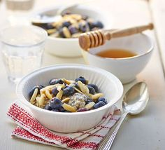 This fibre-packed oat pot is similar to a bircher. The combination of porridge oats, blueberries, yogurt, seeds and nuts will keep you fuller for longer