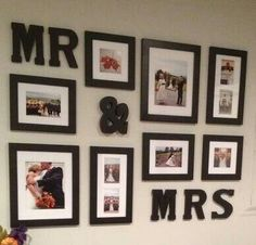 Wedding picture idea for a bedroom.