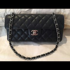 SOLD  Chanel Classic Caviar East West Flap Gently used condition with an  adjustable 11