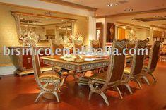 Luxe & Classique Salle à manger Meubles Set, Soild bois, sculpté à la main…