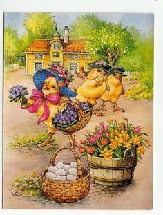 LARS CARLSSON - LC Kycklingflicka med Blomsterkorg
