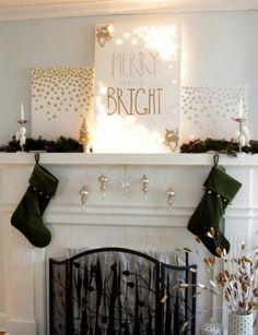 Weihnachtsdekorationen Kaminsims Weiß Grün Gold Lichterketten Adventszeit,  Weihnachtszeit, Moderne Weihnachtsdeko, Christkind, Weihnachtsbaum