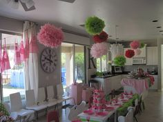 KT's 4th birthday - over the top Strawberry party. love it! must use some ideas, especially the green tablecloths.