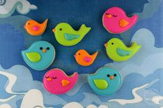 Colorful Bird Cookies