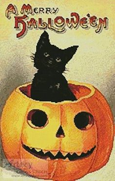Merry Halloween - cross stitch pattern designed by Tereena Clarke. Category: Cats.