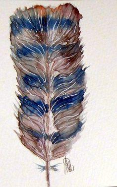 Feder-Original-Aquarell - Kunst von *zeitgenössische kunst von maria-mercedes* auf DaWanda.com