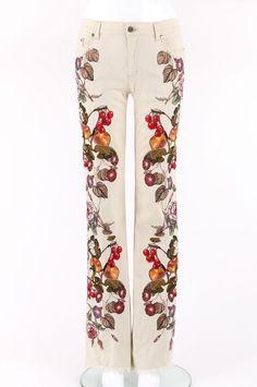 ROBERTO CAVALLI Beige Cotton Multicolor Floral & Fruit Embroidered Jeans Pants S #RobertoCavalli #StraightLeg