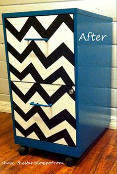 how to transform a metal filing cabinet | http://www.chasethestar.net, metal file, file cabinet, chevron, teal ...