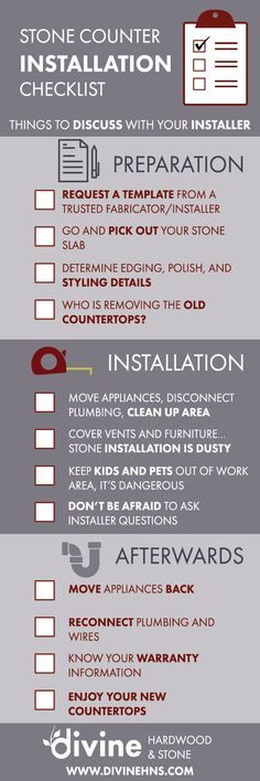 Stone Countertop Installation Checklist, everything you need to know before installing your new counters.