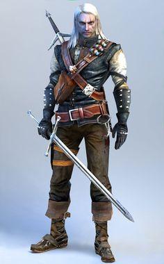 human male rogue - two swords, leather armor. Looks like Gehard of Rivia.