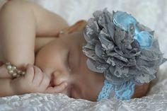 Lace Baby Headband, Blue Organza Bow, Blue Lace Headband, Grey Lace Flower, Toddler Headband, Kids Headband, Teen Headband, Photo Prop