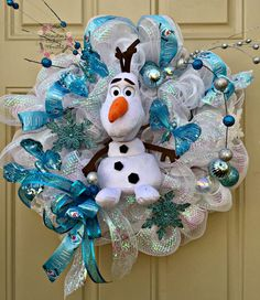 Frozen Movie Olaf Wreath Olaf Stuffed by HoustonCustomWreaths