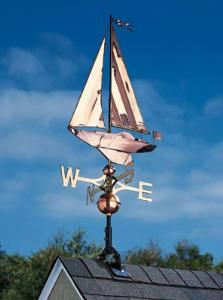 """This classic copper sailboat weathervane measures an overall height of 46"""".  Product in photo is from www.wellappointedhouse.com"""