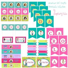 American girl crafts doll party COLLECTION cupcake toppers favors food sweet labels Water bottle Birthday Banner Printable YOU CHOOSE Dolls