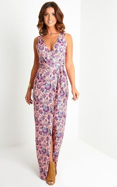 Never blend into the crowd in the Lennie Print Wrap Maxi Dress, £30 #PrettyLittleThing  #LucyMecklenburgh